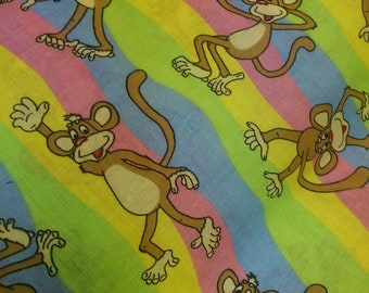Fabric by the Yard bo the Monkey rainbow 100% cotton signature classics childrens chid craft sewing project 43 widith