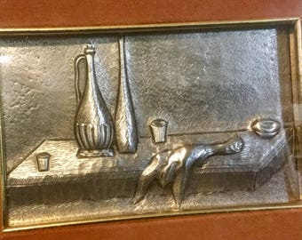 Pewter Wall Plaque Lavorazione Artistic Peltro Table Scape Small Vintage 1995 Italy Engraving Picture Wall Decor Pewter Picture