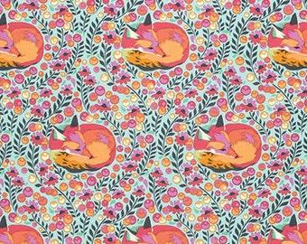 1 YARD Foxes in Flower Field ~ Fox Nap in Sorbet - Chipper by Tula Pink pwtp080-sorbet