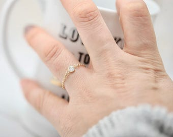 Chain Ring • CZ Ring • Midi Ring • Knuckle Ring • Delicate Ring • Gold Filled Ring • Sterling Silver Ring • Dainty CZ Ring • Simple Ring