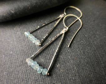 sterling silver briolette light blue aquamarine trapeze triangle dangle hook earrings