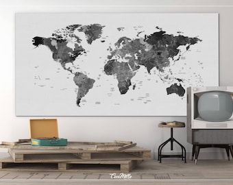 Push pin world map extra large world map canvas print push world map watercolor world map black white push pinworld map extra large world map travel map wall decor wall hanging wanderlust 962 gumiabroncs Images