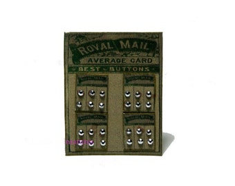 Royal Mail Buttons Sales Card Dolls House Miniature ~ 12th Scale