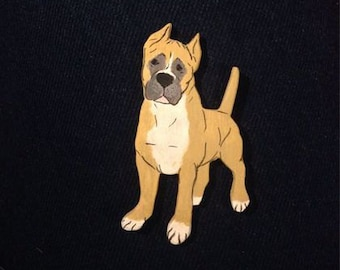 Wooden American Staffordshire Terrier Brooch, Gift for Nature Lovers, Handmade Wooden Brooch