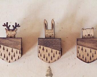 Animal Pocket Brooch - Bunny, Bear and Moose wooden brooch Woodland animals
