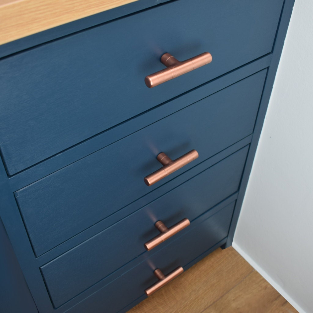 Copper T Pull with ridging detail, drawer pull, cabinet pull, copper ...