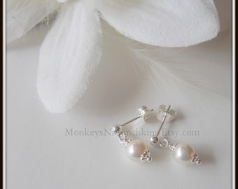 Pearl Dangle Earrings Flower Girl
