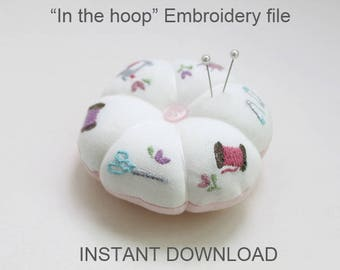 In-the-hoop pincushion - machine embroidery file instant download