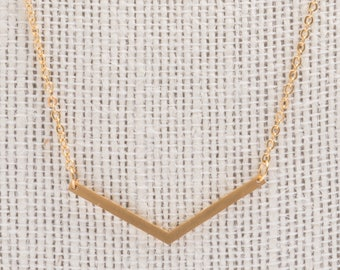 Gold plated chevron charm necklace