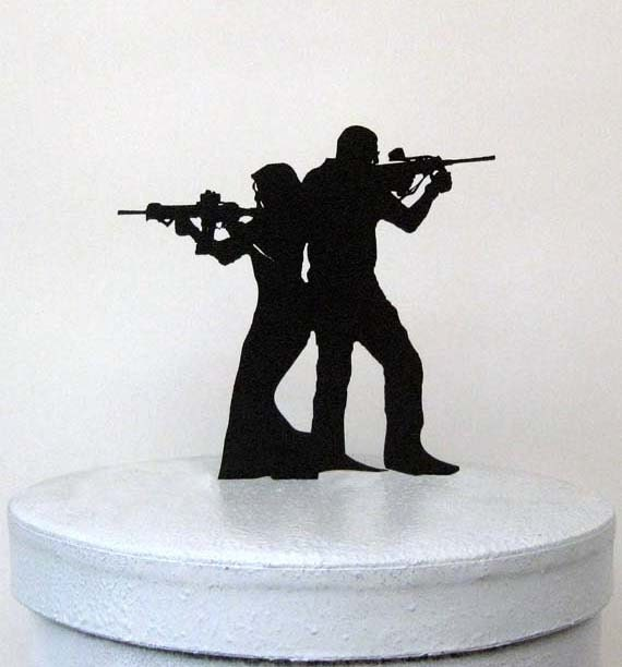 Armed Couple Cake Topper