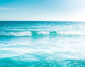 beach photography tropical beach art nautical decor coastal prints 8x10 24x36 ocean photography waves beach house decor modern aqua blue
