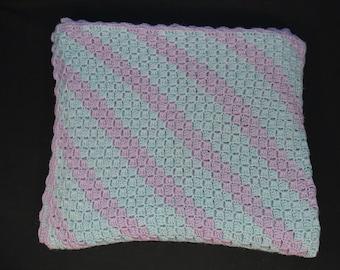 C2C Corner to Corner Blanket Soft Blue/Orchid Crochet Blanket, House Decor, Crochet Gift