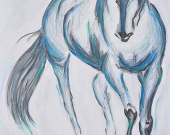 """Sold. Made to Order Horse Painting-Equine Abstract-ORIGINAL Signed painting-24"""" x 36"""" x 1.5, Acrylic, gouache, charcoal Mixed media artwork"""