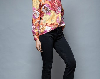 psychedelic printed top red blouse shirt bright Asian floral M L vintage 70s medium large