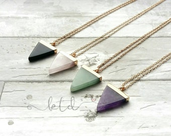 Gemstone triangle necklace- gold foiled pendant- rose quartz- black onyx- aventurine- amethyst- healing crystals- gift for her- triangle