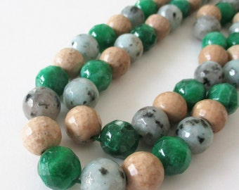 """Agate Round Beads - Faceted Agate - Mix Shaded Green Beige Color - Drilled Gemstone - 12mm - 16""""  Strand - Diy Stacking Bracelet Jewelry"""