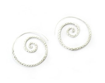 Sterling Silver Hammered Spiral Earrings, Gypsy Boho Tribal swirl Hoop Statement Earrings, Handmade Hammered shiny Flat Spiral Hoop Earrings
