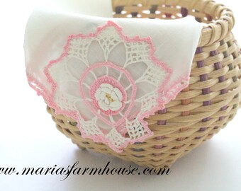 HANDKERCHIEF, Vintage Crochet Design Ladies' Handkerchief, Bride to Be, Something Old, Bridal Shower Gift Inspiration