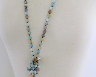 Amazonite Necklace - Statement Necklace - Beaded Necklace - Earthtone Necklace - Gemstone Necklace - Long Necklace - Boho Necklace