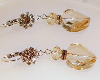 Light Golden Crystal Swirl Earrings