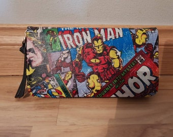 Custom - marvel comics - purse wallet clutch - thor spiderman iron man hulk captain america
