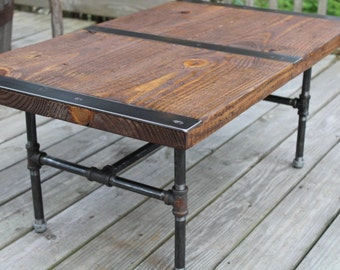 Pipe Leg Coffee Table, Industrial Coffee Table, Reclaimed Wood, Vintage  Table, Rustic