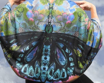 Twilight Butterfly Wearable Art Clothing, , Butterfly Wings, Silk Kimono Gift, Yoga Cover Up, Gifts for Mom, Gift for women