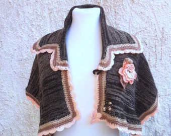 Jacket -scarf with large collar scarf transformer in color brown