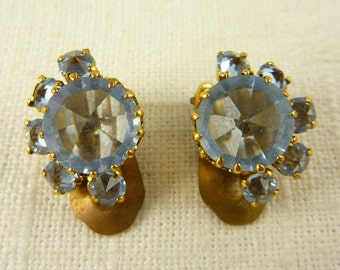 Antique Austrian Crystal Gold Tone Clip On Earrings