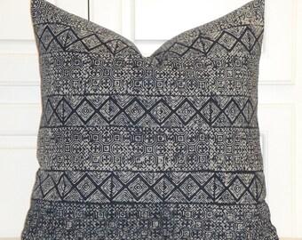 Indigo Batik Decorative Pillow Cover - Hmong Pillow -Tribal Pillow - Batik Pillow - Navy Pillow - Toss Pillow