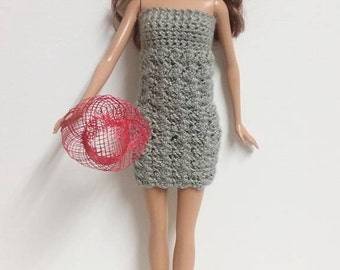 Crocheted Gray Barbie Doll Dress. Barbie doll clothes. Crocheted barbie doll clothes. Doll clothes. Barbie doll.