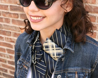 Women's Scarf Made from Vintage Tie - Necktie Necklace - Blue and Yellow Lauren Scarf. 16