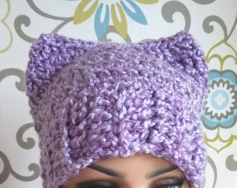 Cat hat, hat with cat ears, adult hat, purple hat, crochet hat, ear hat, animal hat, animal ear hat, cute handmade hat, cute hat, ears hat