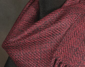 Red scarf / Handwoven scarf / merino wool scarf /