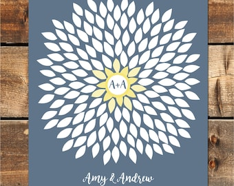 Wedding Guest Book Alternative, Wedding Guestbook, Guestbook Alternative, Dahlia Guestbook Personalized Wedding Poster, 20x24, 150 sig