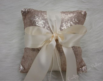 Champagne Glitz Sequins Wedding Ring Bearer Pillow, 8x8 Wedding ring pillow, READY TO SHIP
