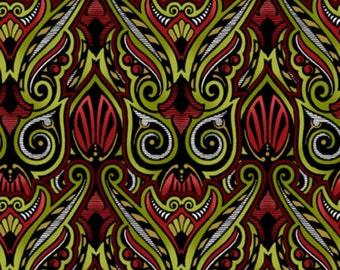 In the Beginning - Jason Yenter - Winter Wonderland - 4WW1M - Red & Green Art Deco Cotton Fabric