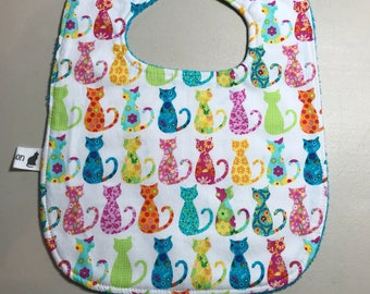 Baby Bib, Adorable Kitty Print with Terry Cloth Backing, New Baby Gift, Baby Accessories, Baby Shower Gift, Cows