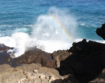 Ocean splash rainbow photograph or canvas print, 5x7, 8x10, 11x14, 16x20, O'ahu, HI