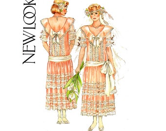 New Look 6361 Womens Flapper Style Dress or Wedding Gown 80s Vintage Sewing Pattern Size 8 10 Bust 31 1/2 - 32 1/2 inches