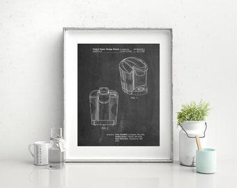 Coffee Brewer Patent Poster, Coffee Decor, Restaurant Wall Art, Apartment Decor, Kitchen Wall Decor, PP0905