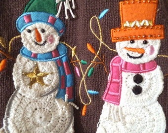 Vintage Snowman and Christmas Lights Sweater Vest ~ Dollie Snowmen ~ Festive Brown Ugly Sweater ~ Holiday Party