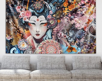 Rainbow Geisha Tapestry by Android Jones