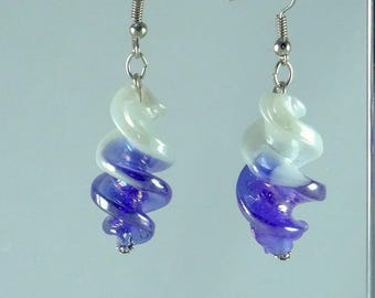 Earrings twisted Murano blue and white iridescent
