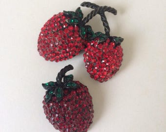 Vintage Red Rhinestone Weiss Strawberries Pair Brooches Pin