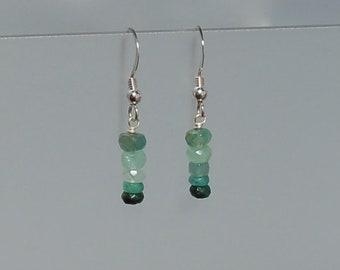 Sterling Silver Shaded Emerald Earrings