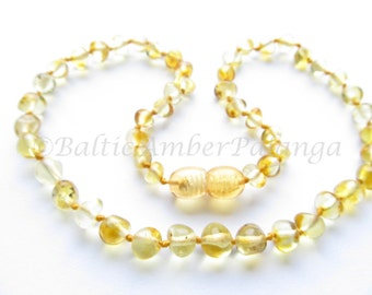 Baltic Amber Teething Necklace, Lemon Color Rounded Beads