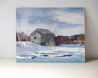 Vintage original acrylic painting Vintage original art Winter scene painting