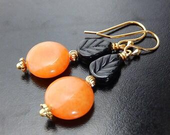 Orange, Black Earrings, Gold Dangles, Leaf Earrings, Fall Jewelry