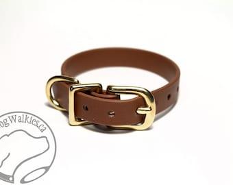 "Milk Chocolate Brown Little Dog Collar - 1/2"" (12mm) Thin Beta Biothane Dog Collars - Waterproof Small Dog Collar"